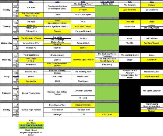 Fall 2014-15 TV Schedule